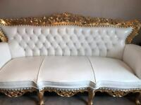 Gold / white ornate wedding stage chair as new £700