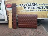 Kingsize bed frame brown button leather in really good condition £85