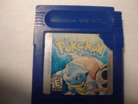 Pokemon Blue gameboy game cartridge.