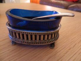 Elegant Vintage Silver plated EPNS Salt & Pepper set with spoons
