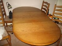Dining Table & 6 Chairs ( 2 carvers)