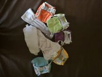 5 bamboo and colorful popin reusable nappies with 2 insertions each+1 night time booster.