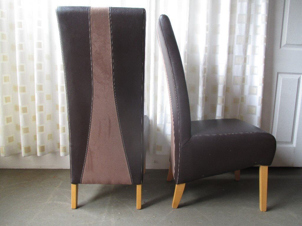 Pair Of Dining Chairs Brown Faux Leather And Suede Modern High Back