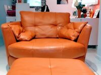 Large leather corner sofa and cuddle chair and pouffe