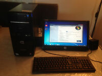 Compaq Desktop PC, Keyboard, Mouse, Widescreen Monitor
