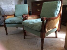 Lovely pair of quality reproduction Bergere arm chairs / conservatory chairs