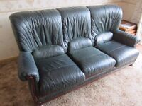3 seater green Leather settee