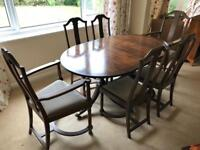 Antique Mahogany Veneer Dining Table and chairs. Open to Offers