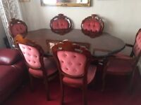 Dinning table 6 chairs 2 carvers