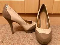Cream and brown heels size 6