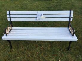 New garden seat timber slats cast iron ends
