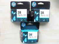 GENUINE HP28 TRI-COLOUR INK CARTRIDGES X3 NEW