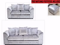 NEW 3+2 SILVER CRUSHED VELVET SOFA SET INC FREE MATCHING STOOL & FREE DELIVERY ONLY £329.99