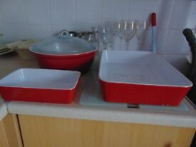 Red/White Casserole dishes for sale. good condition.