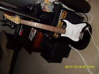 """MARLIN """"Strat"""" Black, in good cosmetic condition R H 6 String strat copy amped up ok"""