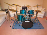 TAMA SUPERSTAR VINTAGE 1980'S DRUM KIT WITH STANDS, CYMBALS & CASES - AQUA MARINE - RARE