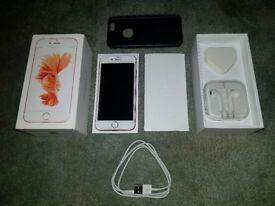 Immaculate Iphone 6s(unlocked) with unused sealed original earphones and charger, box and case