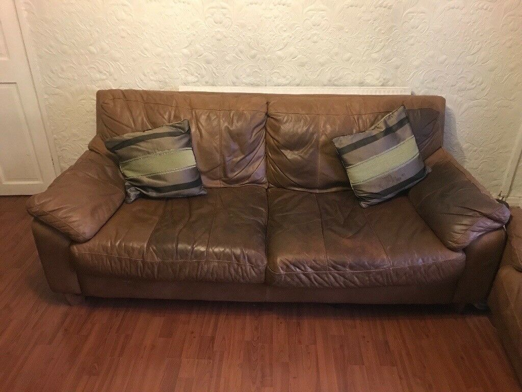 3 & 2 seater brown leather couches, free to a good home but must be collected ASAP. In ok condition