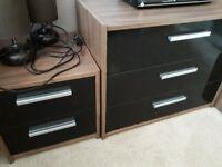 Bedroom furniture set - Argos Malibu black gloss and rich walnut effect.