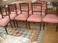 4 x dining chairs (mahogany with cushioned fabric seats)