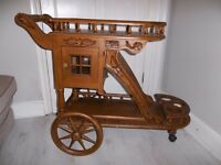 Wooden Drinks Trolley - Gorgeous Vintage Indian Style Retro Drinks Tea Trolley
