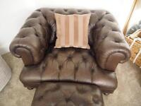 Leather Dover/Drummond armchair and footstool