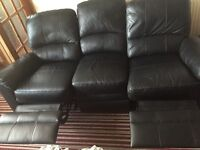 BLACK LEATHER 3 SEATER RECLINING SOFA