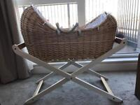 Beautiful Wicker Moses Basket with Stand, Mattress & Sheets