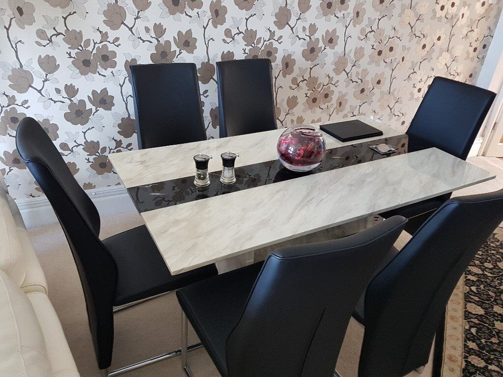Marble Dining Table Six Leather Back Chairs MontBlanc Superb - Used marble dining table