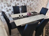 Marble Top Dining Table Six leather back chairs - MontBlanc - Superb condition - Rarely used.