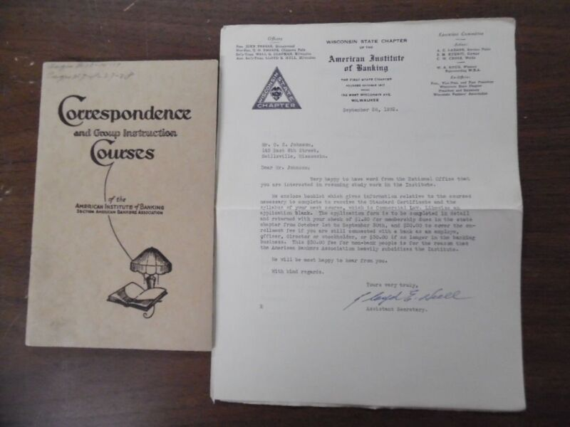 1928 American Institute of Banking Instruction Course Bank Management Catalog VG
