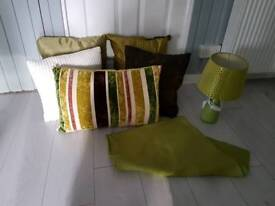 Pillows lamp and blanket