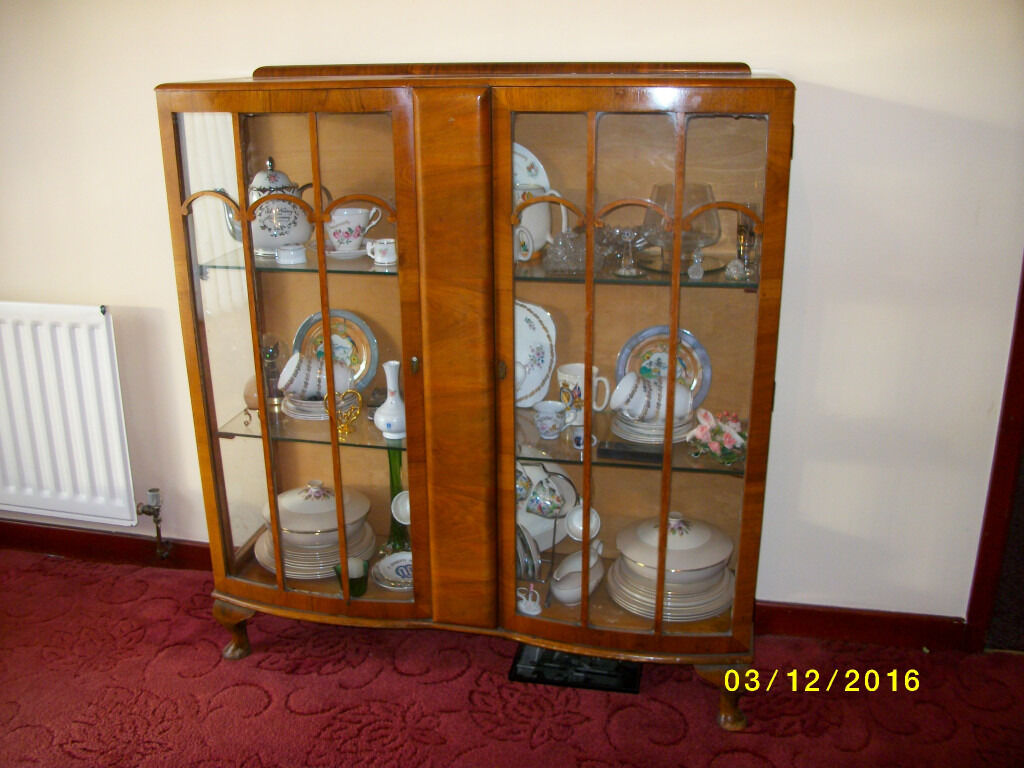 China Cabinet, Bow fronted, Golden Oak,