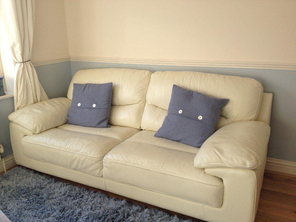 2 X 3 Seater Sofas Magnolia Cream Colour Leather Dfs Dazzle Nevada Range Will