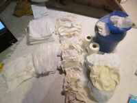 Washable nappies, terry towling, outers, liners, bucket, muslin, every thing from newborn upwards