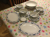 New Cameo Durable China 16 Piece restaurant quality Oriental Chinese Dinner Set for four