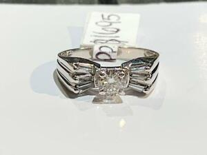 #3688 14K WHITE GOLD LADIES DIAMOND ENGAGEMENT RING .44CT DIAMOND .74CTW *SIZE 6* APPRAISED FOR $5150 SELLING FOR $1695!