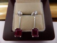 ladies 18k white solid gold drop earrings with diamonds and rubies 5.56 carats