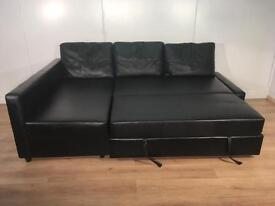 Black leather corner sofa bed with free delivery within 10 miles
