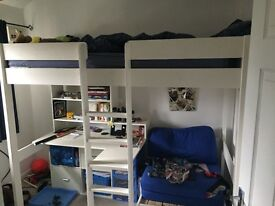 Cabin bed with desk and storage chair and wardrobe