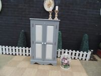 SOLID PINE FARMHOUSE CUPBOARD THIS SET HAS BEEN PAINTED WITH LAURA ASHLEY PALE DOVE AND PARIS GREY