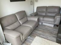 Oak furnitureland leather sofas - immaculate condition