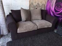 New Brown Fabric 3 Seater Sofa with Scatter Back Cushions in Suede and Jumbo Cord Fabric