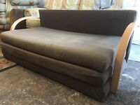 SOFA BED in BROWN FABRIC PRE-OWNED very comfy