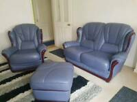 Leather 2 seater and chair set including footstool