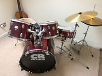 Drum kit - 5 piece with 2 symbols and stool