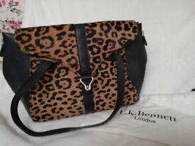 L K Bennett Leopard Print Suede Handbag