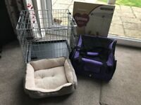 Me & My Pets Car Seat & Carrier / Rosewood Options Two Door Dog / Puppy Home and Brown/Tan Pet Bed