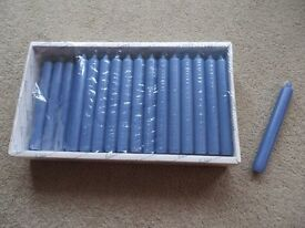 BOLSIUS TAPER DINNER CANDLES (Blue) - 18cm tall. Box of 50 (1 missing)