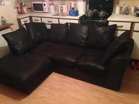 Black suede corner sofa